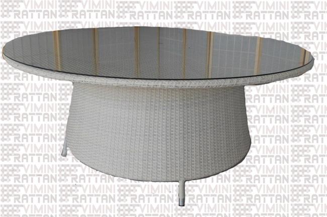 Tavolo Rotondo Per Esterno.Tavolo Rotondo Cm 180 Rattan Sintetico Bianco Per Esterno Tavolo