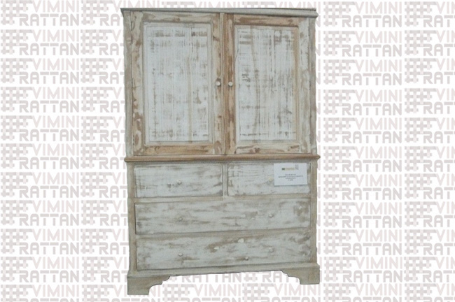 ARMADIO SHABBY CHIC DECAPATO BIANCO TEAK MASSELLO .