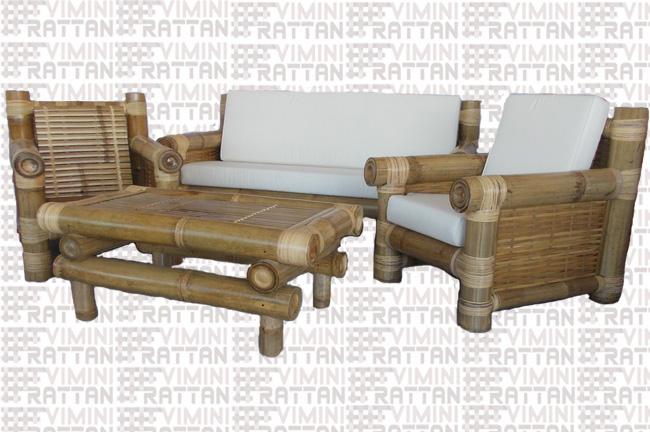 Salotto In Bamboo.Salotti Rattan Midollino Naturale Midollino Banano Kubo