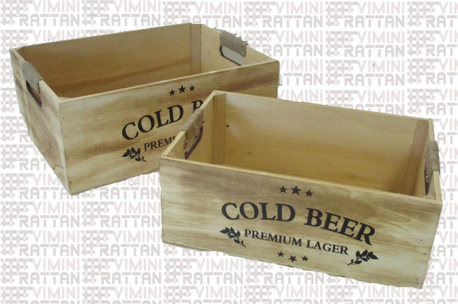 "SET DI 2 CASSETTE IN LEGNO STAMPATA ""COLD BEER"""
