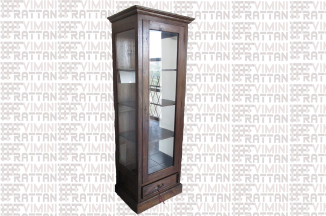 COLONNA VETRINETTA IN TEAK MASSELLO CM 61X44X190H