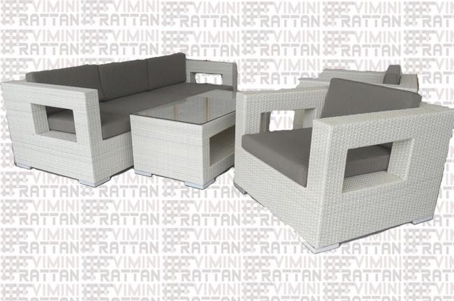 Divani In Rattan Sintetico Bianco.Salotto 5 Posti In Rattan Sintetico Bianco Divano Cm 218 Mobili
