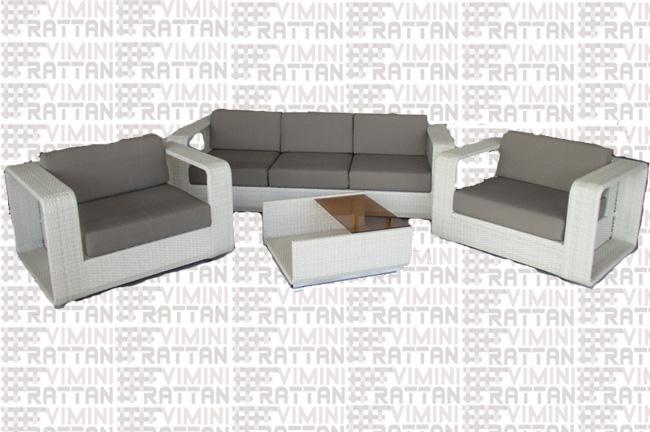 Salotto Rattan Sintetico Bianco.Salotto 5 Posti In Rattan Sintetico Bianco Divano Cm 220 Mobili