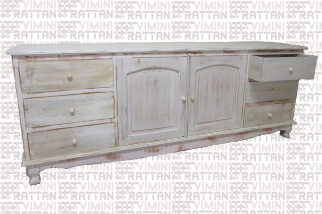 BUFFET MOBILE SHABBY CHIC DECAPATO BIANCO TEAK