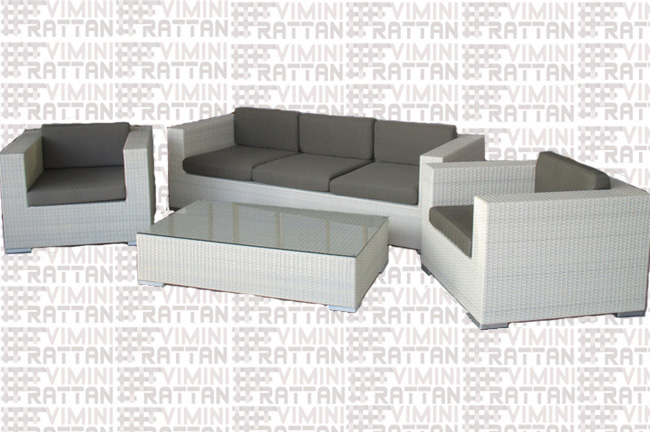 Mobili Per Esterni In Rattan Sintetico.Salotto 5 Posti In Rattan Sintetico Bianco Divano Cm 215 Salotto 5