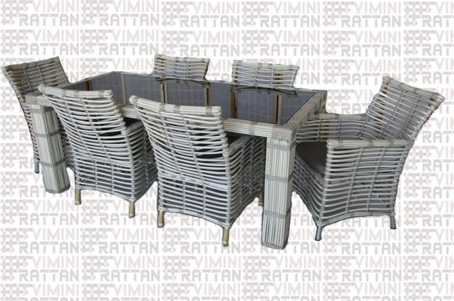 Poltrone Giardino Rattan Sintetico.Tavolo 6 Poltrone Rattan Sintetico Grigio Per Esterno Tavolo Da