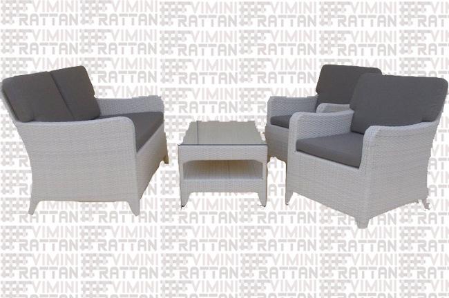 Salotto In Rattan Bianco.Salotto 4 Posti In Rattan Sintetico Bianco Salotto In Rattan