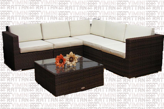 SALOTTO COMPONIBILE RATTAN SINTETICO MARRONE TIGER