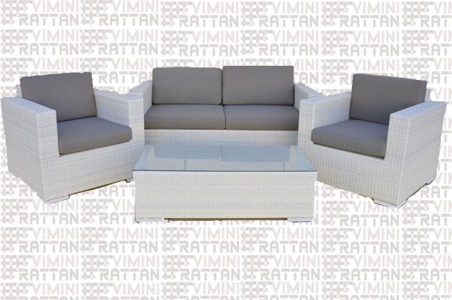 Salotto Rattan Sintetico Bianco.Salotto 4 Posti In Rattan Sintetico Bianco Salotto In Rattan