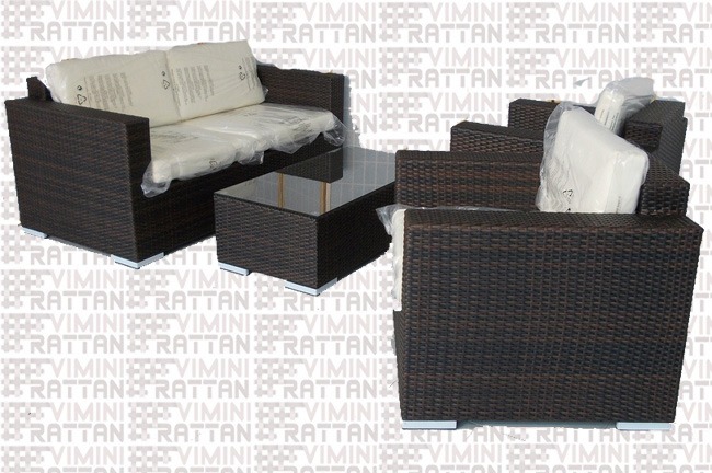 SALOTTO 4 POSTI IN RATTAN SINTETICO MARRONE TIGER