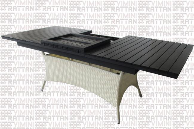 Tavoli Da Esterno Rattan Sintetico.Tavolo Allungabile Rattan Sintetico Bianco Per Esterno Giardino