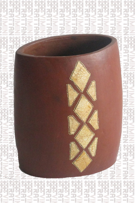 VASO IN TERRACOTTA DECORATO ALTEZZA CM 30